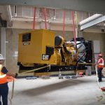 Generator installed for Verizon being hoisted to the rooftop