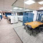 Society of Interventional Radiologists cubicles with glass-walled meeting area