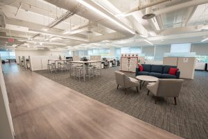 Redfin common area with cubicles/desks